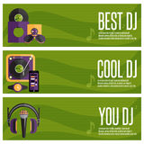 Banners set of dj and music theme Royalty Free Stock Photo