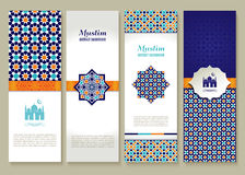 Banners set of ethnic design. Religion abstract set of layout. Banners set of ethnic design. Religion abstract set of layout with ornament Royalty Free Stock Photos
