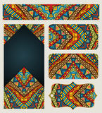 Banners Set With Ethnic Pattern Stock Photo