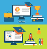 Banners with set of flat concept icons for education for all Royalty Free Stock Photography