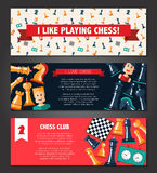 Banners set with flat design chess and players icons Stock Photography