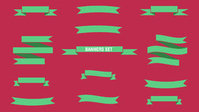 BANNERS SET. SET OF FLAT DESIGN STYLE BANNERS Stock Photo