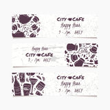 Banners set with hand drawn drinks. Round doodle emblem. Beverages collection for menu, bar or cafe design Stock Photo
