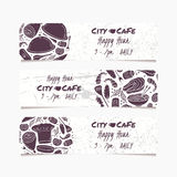 Banners set with hand drawn food. Round doodle emblem. Collection for cafe design Royalty Free Stock Photography