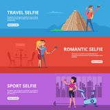 Banners set with illustrations of couples and happy characters making selfie. Vector selfie couple photo, romantic travel and sport selfie Royalty Free Stock Photos
