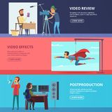 Banners set with illustrations of movie production. Video effect and review, filmmaking studio illustration Royalty Free Stock Image