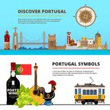 Banners set with illustrations of portuguese cultural objects. Vector portuguese discover banner, port building and castle Royalty Free Stock Images