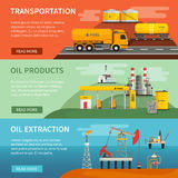 Banners Set Oil Petrol Industry. Flat horizontal banners set of oil petrol industry segments extraction transportation and products vector illustration Royalty Free Stock Image