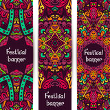 Banners set ornament tribal ethnic pattern. Banners set with festival ethnic pattern. Branding design with tribal ornament Stock Photo