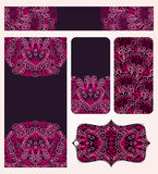 Banners Set With Pink Lacy Pattern Stock Photo