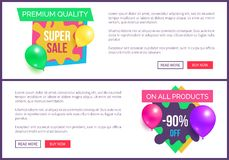 Banners Set Premium Quality Super Prices Stickers. Banners set premium quality super hot prices promo stickers balloons and brush splashes web online poster Stock Photography