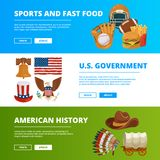Banners set with symbols of american culture vector illustration