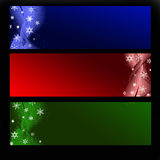 Banners. Set of three horizontal Christmas banners on a black background stock illustration