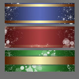 Banners. Set of three horizontal Christmas banners on a gray background vector illustration