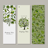 Banners set, tropical tree design Royalty Free Stock Photography