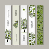 Banners set, tropical tree design Royalty Free Stock Image