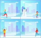 Banners Set on Winter Theme on Vector Illustration. Banners set on winter theme, people doing different activities, girl creating snowman and man skiing on ice Royalty Free Stock Photos