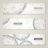 Banners set with wireframe mesh polygonal elements Stock Photography
