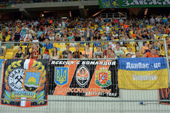 Banners of Shakhtar fans Stock Photo
