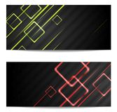 Banners with shiny stripes and squares. Vector design Royalty Free Stock Photography