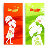 Banners with silhouette of pregnant woman Royalty Free Stock Images