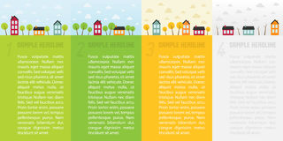 Banners with small town in different seasons. Vector illustration vector illustration