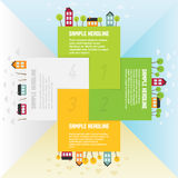 Banners with small town in different seasons. Vector illustration royalty free illustration
