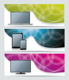 Banners  with smart phone, tablet pc, laptop,. Collection banner design with smart phone, tablet pc, laptop and computer, colorful sunlight background, vector Royalty Free Stock Photo