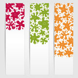 Banners with smiling ink blots. Three banners with colored smiling ink blots stock illustration