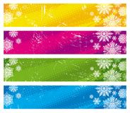 Banners with snowflakes Stock Photos