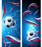 Banners Soccer Ball with Flag of Russia. Vector Royalty Free Stock Images