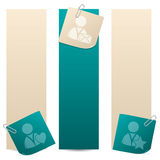 Banners with social network theme notepapers Royalty Free Stock Image