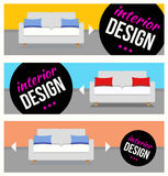 Banners with sofa set. For online shop or web blog Stock Image
