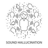 Banners for sound hallucination stock illustration