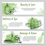 Banners on spa related theme with hand drawn massage and body care products stock photography