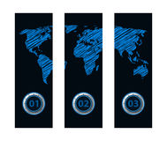 Banners with special map design Royalty Free Stock Photo