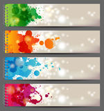Banners with splashing paints. 4 banner with hand drawn splashing paints Stock Photos