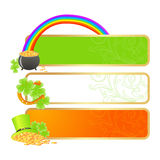 Banners for St. Patrick's day. In Irish flag colors and holiday symbols - Leprechaun hat, pot of gold and horseshoe Stock Images