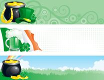 Banners for  St. Patricks Day. Three Vector banners of pot with gold coins,  horseshoe, leprechaun hat, clover, irish flag, cup of green beer and rainbow for St Stock Photography
