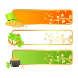 Banners for St. Patrick's day. In Irish flag colors and holiday symbols - Leprechaun hat, pot of gold and horseshoe Royalty Free Stock Photos