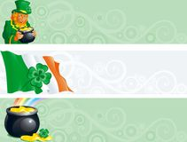 Banners for St. Patricks Day. Three banners of pot with gold coins, leprechaun, clover, irish flag for St. Patricks Day royalty free illustration