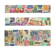 Banners of stamps. 3 image of used postage stamps from all the world. Useful size for banners Royalty Free Stock Photos
