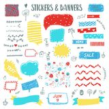 Banners and stickers funny doodle set with sketch elements. Vector  illustration Stock Photography
