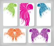 Banners with stylish of beautiful  long hair woman ,cards design template Stock Photos
