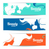 Banners with stylish beautiful woman silhouette. Template design cards Stock Photography