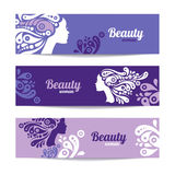 Banners with stylish beautiful woman silhouette Stock Photography