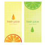 Banners with stylized citrus fruit and splashes Stock Images