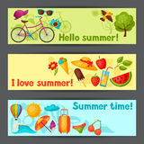 Banners with stylized summer objects. Design for cards, covers, brochures and advertising booklets Stock Photo
