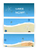 Banners summer with sky and sea. Royalty Free Stock Image