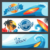Banners with surfing design Stock Photography